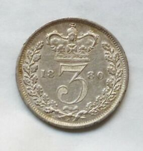 1880 young head Victorian silver threepence