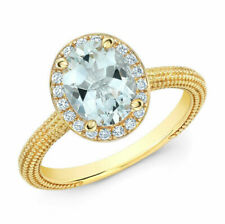 14K Yellow Gold Oval Aquamarine Diamond Solitaire Halo Ring 1.29 TCW Natural