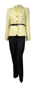 Tahari Women's Belted Shawl Lapel Three Button Pant Suit