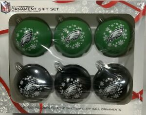 Philadelphia Eagles NFL 6 Pack Shatterproof Christmas Tree Ornament Boxed Set