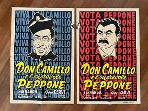 Poster Manifesto 1955,Don Camillo e l'onorevole Peppone,Fernandel,Gino Cervi,cap