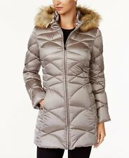 Jones New York Petite Faux-Fur-Trim Quilted Down Puffer Coat Latte PXS  #43-52