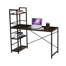 SVITA combo2 Schreibtisch Regal Nussbaum-Optik schwarze Metall-Beine Bürotisch