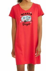 NWOT SECRET TREASURES Size L XL Christmas Camper Merry & Bright Knit Sleepshirt