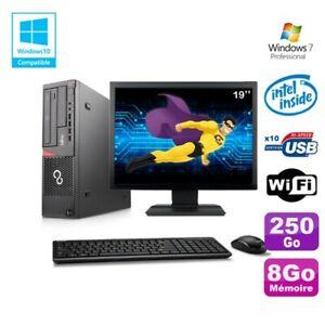 "Lot PC Fujitsu E720 E85+ G3220 3GHz 8Go 250Go Graveur WIFI W7 + Ecran 19"""