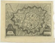 Antique Map of the City of Groningen made after Harrewijn (c.1750)