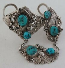 BIG Navajo HB Yazzie Sterling Silver & Turquoise Slave Bracelet - Ring Size 7.5