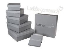 Graue Lieblingsmensch Aufbewahrungsbox 8er Set ca 22 x 22 x 8 cm Karton Geschenk