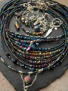 Shamballa Pave collar necklace rainbow TITANIUM coated DRUZY agate raw HEMATITE