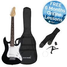 Cohete 3/4 tamaño guitarra eléctrica en negro con 6 meses Gratis lecciones en línea