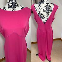 Sara Bernshaw Hot Pink Size 16 42 Maxi Dress Evening Long Low V Back Beaded VGC