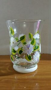 White and purple daisies with green leaves Small Hurricane Votive Candle Holder