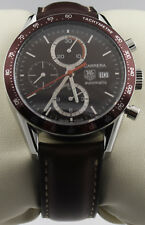 CV2013.FC6234 TAG HEUER CARRERA AUTOMATIC CHRONOGRAPH BROWN LEATHER MENS WATCH