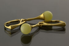 White Round Beads Genuine BALTIC AMBER Silver Gold Plated Earrings 3.3g e61108-5