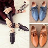 British Style Womens pointed  Genuine leather Lace-up Ballet Flats Shoes