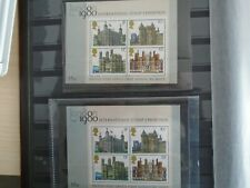G.B. 1980 International Stamp Exhibition. 2 Mint Blocks of 4 Stamps. High Value.