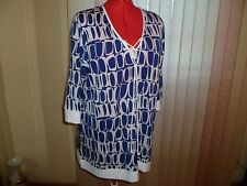 NWOT Basler Germany V-neck+lace-up 3/4 sleeve tunic in blue/white size 48/1X/2X