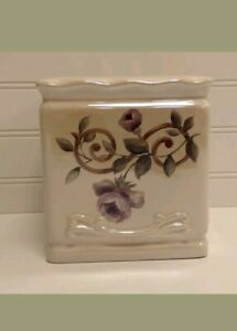 Croscill Chambord Ceramic Tissue Box Holder Purple Roses