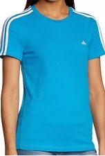 adidas Women's Essentials 3 Stripe ClimaLite T-Shirt Solar Blue Size XS UK 4-6