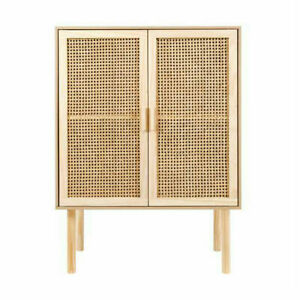 New Rattan Cabinet Buffet Handmade Natural Storage Organiser Solid Timber Wood U