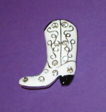 White Cowboy Boot Pin Silver Tone Crystal Accents New Jewelry Western Brooch