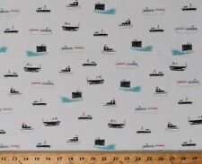 Cotton Ships Fishing Boats Nautical Sailors White Fabric Print Bty D675.36