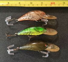 (3) VINTAGE BOMBER FISHING LURES SCREWTAIL LG. CRAW