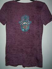 Next Level Women's size M Purple Shear Bling Beach/Casual/Summer T-Shirt EUC