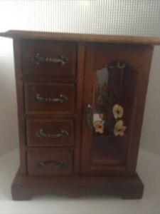 Large Wooden Jewellery Wardrobe & Drawers style Storage Box