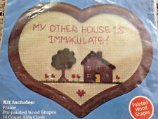 HOBBY KRAFT MY OTHER HOUSE IS IMMACULATE COUNTED CROSS STITCH & FRAME KIT NIP