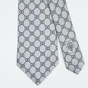 GUCCI TIE GG Guccissima in Light Blue Wide Woven Silk Necktie
