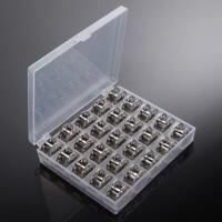 25 Empty Metal Bobbins Spool w/ 25 Grid Storage Case Box for Sewing Machine