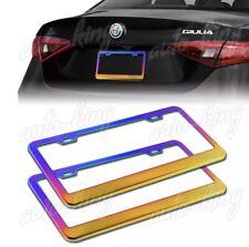 2pcs Neo Chrome Stainless Steel License Plate Frame Holder Cover Frontrear