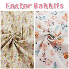 Easter Rabbits 100% Cotton Dressmaking, Craft Tablecloth Fabric 150cm Wide