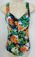Maxine of Hollywood Swim Suit 1 Piece Womens 10 Black Floral Ruched Slimming