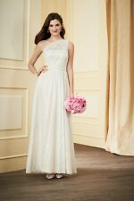ALFRED ANGELO ONE SHOULDER ALL OVER LACE BRIDESMAID WEDDING DRESS IVORY LINEN 14