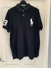 Homme Ralph Lauren BIG PONY Polo Shirt, Noir taille XL CUSTOM FIT