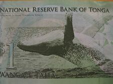 2009 Kingdom of Tonga Banknote  Humpback Whale  super note!  one dollar note
