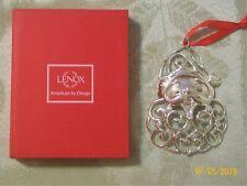 Lenox Sparkle and Scroll Clear Crystal Santa Siverplate Ornament #851309 w/ Box