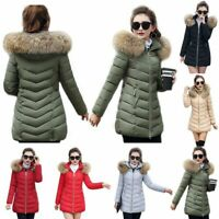 Women's Hot Winter Cotton Hooded Coat Quilted Jacket With Fur Collar