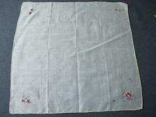 Vintage hand embroidery petit point color flowers yellow hanky 9819j
