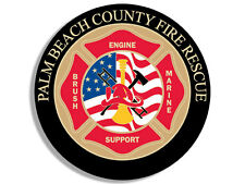 4x4 inch Round PALM BEACH COUNTY Fire Rescue Sticker - fl firefighter logo seal