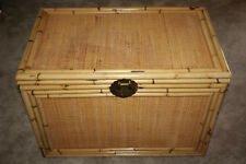 Large Vintage Bamboo & Wicker Chest Trunk GREAT shape