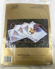 Candamar Counted Cross Stitch Kit Fruit Placemats Something Special 18 by 13 In