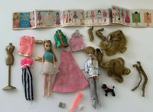 Vintage Topper DAWN Lot  2 Dolls Wigs Clothes Accessories Booklet Dog TLC