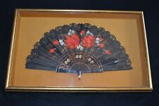 Framed vintage Spanish Hand Fan hand painted carved wood slats lace silk signed