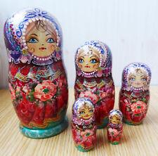 Nesting doll Russian matryoshka Very beautiful bright Handpainted Handmade - 92d
