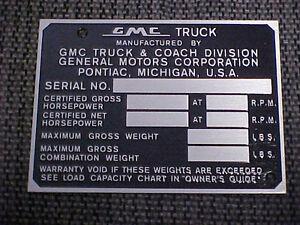 GMC Truck data plate acid etched aluminum 1940s - 1950s