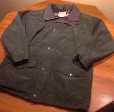 Woolrich Rugged Jacket Large L Wool Lined Plaid Green Shell Pockets Euc Parka