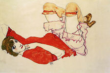 Egon Schiele Reproductions: Wally in Red Blouse, Raised Knees - Fine Art Print